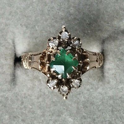 Antique Victorian 14K Gold Emerald And Diamond Estate Ring Size 5.5