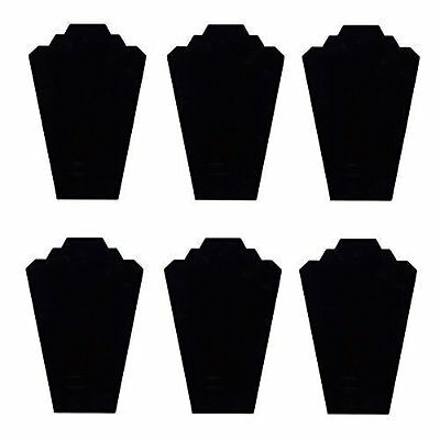 6 Necklace Display Stand Black Velvet Jewelry Display Cards Organizer Neck Lot