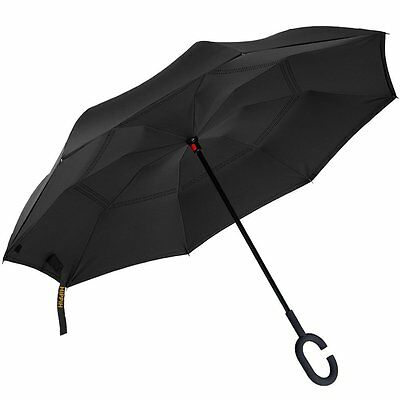 C-Handle Better Brella Inverted 2 Layer Upside Down/Reverse Opening Umbrella New
