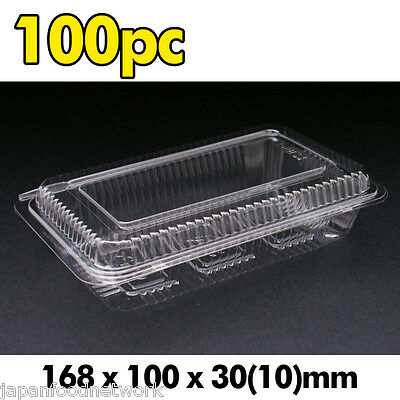 100x Plastic Disposable Lunch Container Sushi Box Clear Take away H-2-B BPA Free
