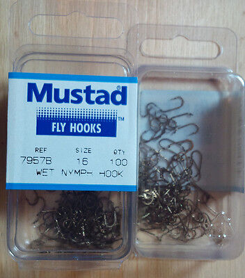Mustad 7957B, Wet Nymph, Size 16, Package of 100, Fly Tying Hooks