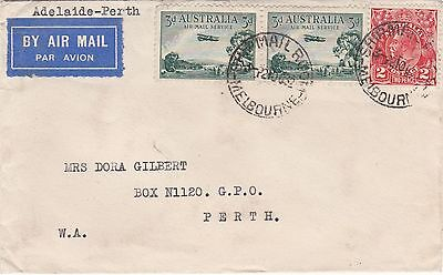 AIRMAIL ADELAIDE - PERTH COVER 1929 3d Airmail JOINED PAIR + 2d Red KGV 2/10/32