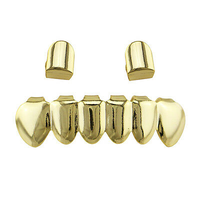 New 14k Gold Plated Shiny Hip Hop Teeth Grillz 2 Single Top & Bottom Grill combo