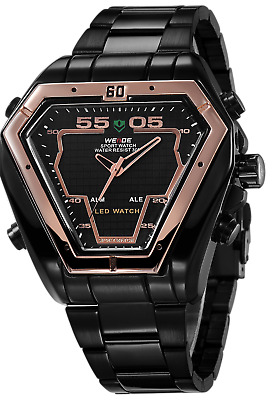 WEIDE Men's Fashion Triangle Alloy Case Alarm Stainless Steel LCD Display Watch