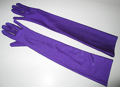 womens LONG SHINY PURPLE EVENING GLOVES WEDDING prom HOMECOMING FORMAL costume