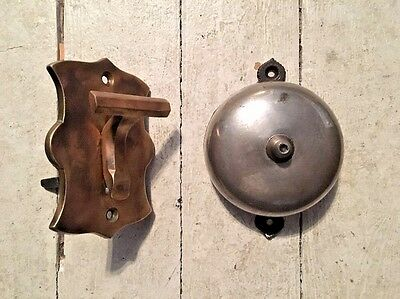 Antique Victorian Period Mechanical Door Bell W/ Brass Pull Switch Lever Working
