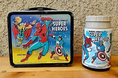VINTAGE - 1976 Marvel Comics Super Heroes - Metal lunchbox & thermos by Aladdin