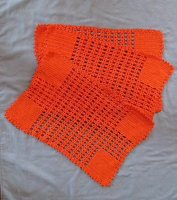 VINTAGE 1970s SET OF 6 NEW HAND CRAFTED ORANGE CROCHETED COTTON PLACE MATS