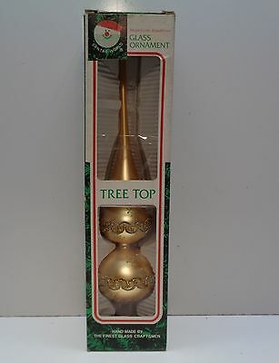 "Vintage KURT ADLER 13"" GLASS CHRISTMAS TREE TOP TOPPER GOLD WITH TRIM BOX"