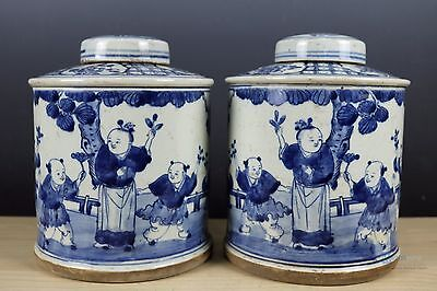 Fine Chinese Beautiful A pair Blue and white Porcelain Tea cans