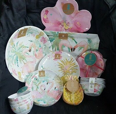 31 pc Outdoor Collections Melamine Pineapple Flamingo Floral Dinner Serving Set