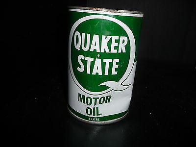 Quaker State Motor Oil Can Tin Canada 1 Litre FULL