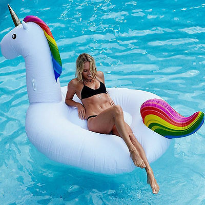 Children Giant Raft Inflatable Unicorn Mounts Floats Swimming Pool Toy Gift New