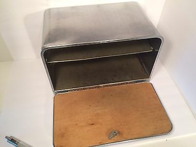 VINTAGE 50s Lincoln Beauty Box  CHROME BREAD BOX with CUTTING BOARD DOOR-USA