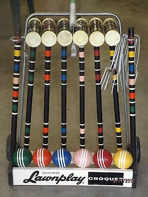 Vintage South Bend Lawnplay 6 Player Croquet Set Complete Wheeled Stand Nice!
