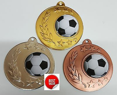 1 x 50mm SOCCER MEDAL,TROPHY,AWARD,FREE ENGRAVING and FREE RIBBON