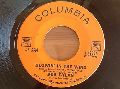 BOB DYLAN BLOWIN' IN THE WIND CANADA ORANGE LABEL STOCK COPY 1A 2'nd 45 VG+ RARE