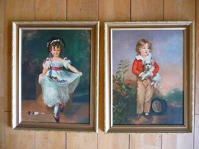 Antique French Apt Style Pair Framed Prints Boy & Girl Gold Frames