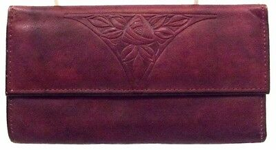 Rolfs Women's Clutch Credit Card Wallet, Burgundy Leather Trifold Small