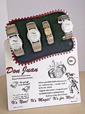 VTG Don Juan Stainless Steel Clasp-on Watch Bands Display Board w/ 4 Cuffs RARE