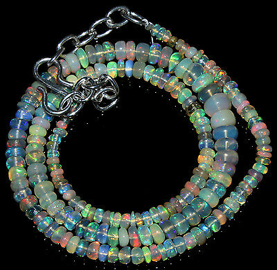 """38.45 Ctw Necklace 2to5mm 14"""" Beads Natural Genuine Ethiopian Welo Fire Opal685"""