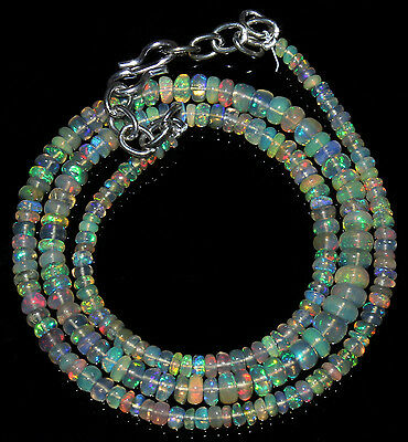 """42.90Ctw Necklace 3to5mm 16.5"""" Beads Natural Genuine Ethiopian Welo Fire Opal691"""