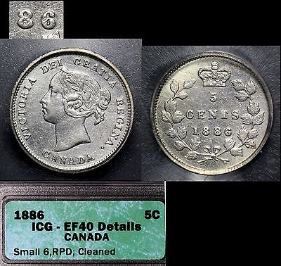 CANADA - 5 cents - 1886 -Repunched 6 - EF40 (b155)