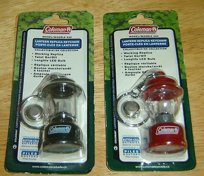 2 Vintage 2003 Coleman Lantern 200 Lighted Keychain New Old Stock Red & Green