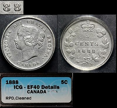 CANADA - 5 cents - 1888 - Repunched 8 - EF40 (b162)