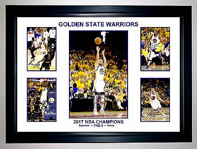 Golden State Warriors 2017 Nba Champions Fab 5 Collage Print/framed Curry Durant
