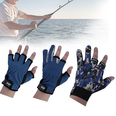 1Pair Skidproof ANTI-SLIP 3 Low Fingers Cut Fishing Gloves Fish Clothing Gear MX