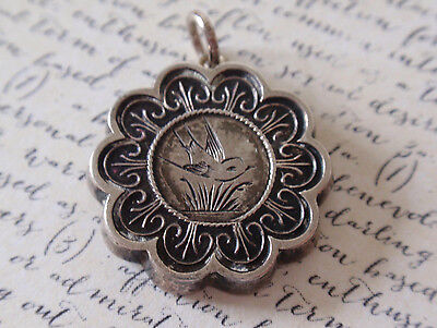 Antique Victorian STERLING SILVER Aesthetic Movement BIRD Charm or Pendant