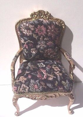 Dollhouse Miniature Artisan Signed Petit Point Floral And Gold Chair