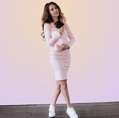 Maternity and Nursing Wrap Dress Pink Colors M Size