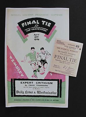 1928 FA Cup Final Blackburn Rovers Vs Huddersfield Town Programme Ticket