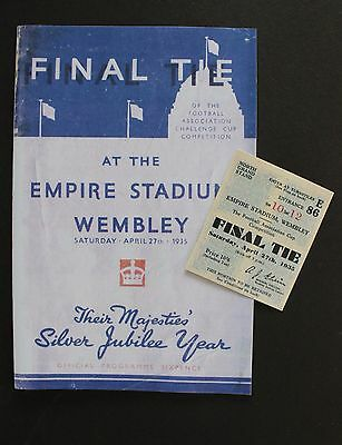 1935 FA Cup Final Sheffield Wednesday Vs West Bromwich Albion Programme Ticket