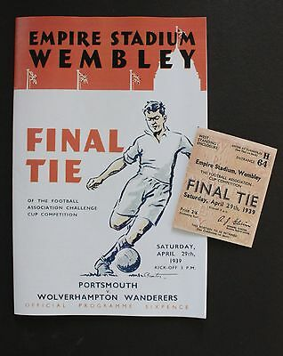 1939 FA Cup Final Portsmouth Vs Wolverhampton Wanderers Programme Ticket