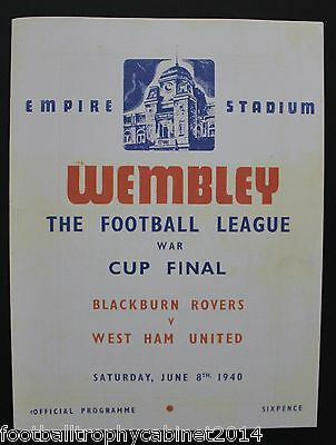 1940 War Cup Final Blackburn vs West Ham Programme
