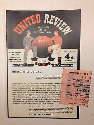 Manchester United Vs Sheffield Wed Programme & Ticket 19th Feb 1958 Busby Babe