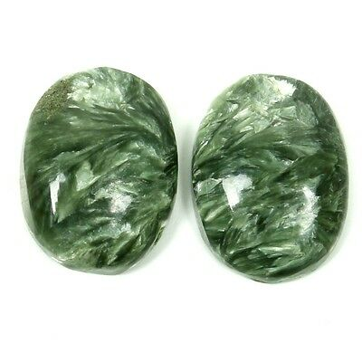 Real 15x12 mm SERAPHINITE Oval Cabochon Pair Gemstone 12 Cts For Earring S-31110
