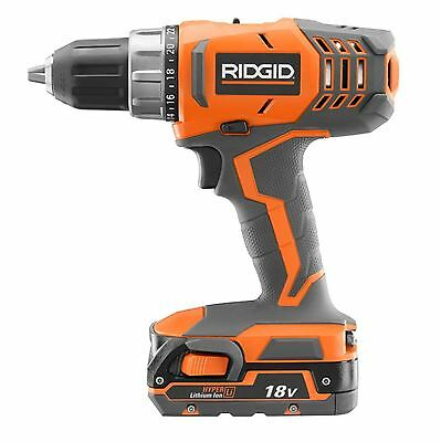 RIDGID 18 Volt Lithium Ion 1/2 in Cordless Compact Power Drill Tool Driver Kit