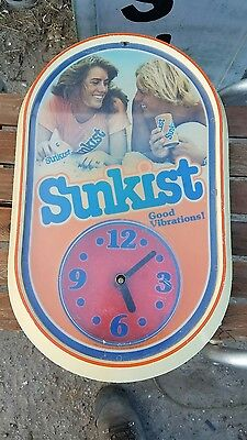 Antique Sunkist Good Vibrations!! Lighted Advertising Sign/Clock