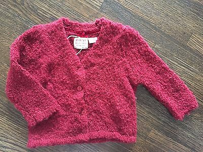 New Zara Knitwear Baby Girls Fancies Sz 12/18 Mos Dark Red Glittery Cardigan