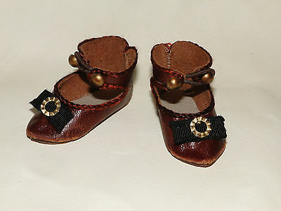 """Leather brown shoes French Jumeau style for antique doll 2"""" length"""