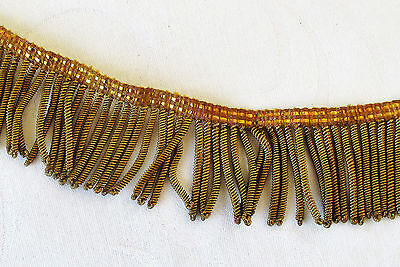 Vintage Gold Metallic Bullion Fringe Coiled Strands Med. Patina   French