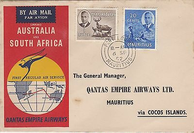 1952 Australia to Mauritius via COCOS ISLANDS Qantas First Air Service Cover