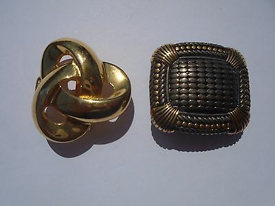 2 Vintage Paquette Belt Buckles Gold Tone & Silver And Gold Square Belt Buckle