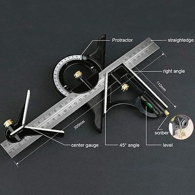 """12"""" Combination Square Ruler  Set Angle Finder & Protractor Level SAE & Metric"""