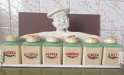 Vintage Chef Gay Ware ,Gayware Retro Kitchen Canisters Spice Set , 50s Fethalite