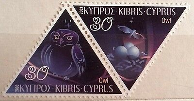 Cyprus Stamp: 2 triangle stamps- Owl, 30 cents, 2003, MNH.